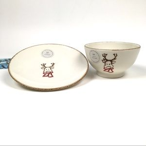 Holiday Rustic Reindeer Plate and Bowl/Portugal